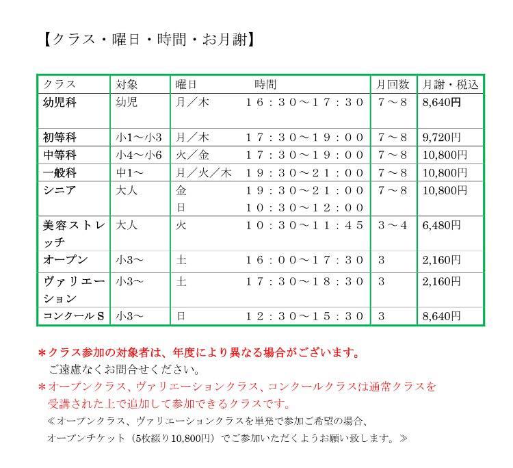 月謝価格表